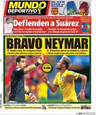 Portada Mundo Deportivo: Octavos de final Mundial Brasil