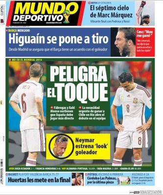Portada Mundo Deportivo. Mundial Brasil 2014