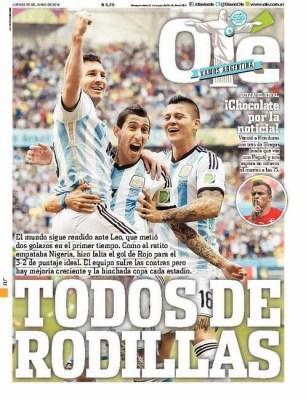 Portada Olé, Mundial Brasil 2014. Argentina pasa a octavos y jugará ante suiza