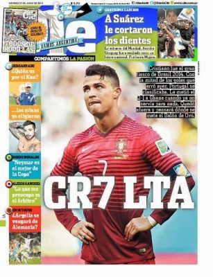Portada Olé Portugal eliminada de Brasil 2014 cristiano ronaldo lta suarez me cortaron los dientes