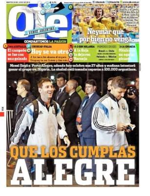 Portada Ole: Messi cumple 27 años mundial brasil 2014
