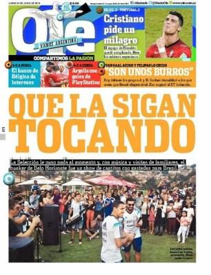 Portada Ole 23 junio 2014 seleccion argentina