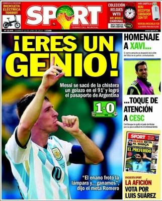 Portada Sport Mundial Brasil: Eres un Genio leo messi iran