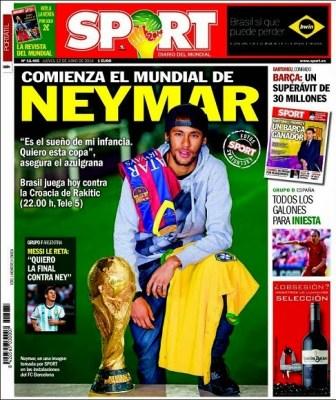 Portada diario Sport. Inicio Mundial Brasil 2014