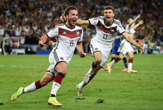 Götze festeja su gol en la final de Mundial Brasil 2014 alemania argentina