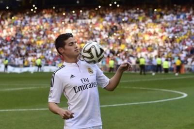 La presentación de James Rodríguez en el Bernabéu