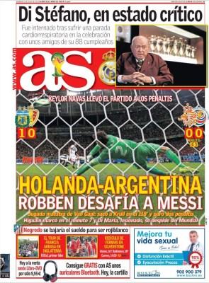 Portada AS: Argentina pasa a semifinales del Mundial de Brasil