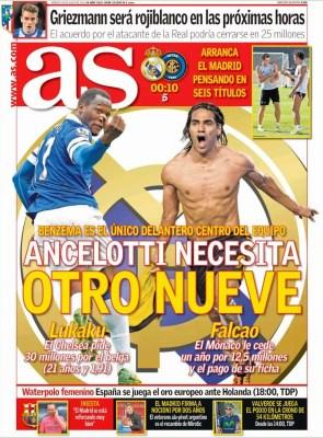 Portada As: Ancelotti quiere un 9