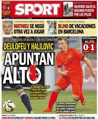 Portada Sport: El Barça de Luis Enrique debuta con un triunfo