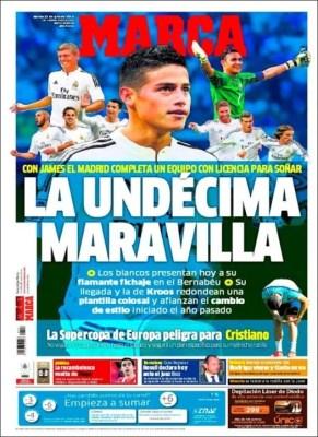 Portada Marca: presentan a James Rodríguez en el Bernabéu