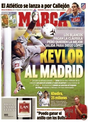 Portada Marca: Keylor Navas ficha por el Real Madrid