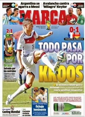 Portada Marca, lesión Neymar contra Colombia, Mundial Brasil 2014