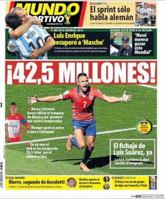 Alexis Sánchez al Arsenal: Portada Mundo Deportivo