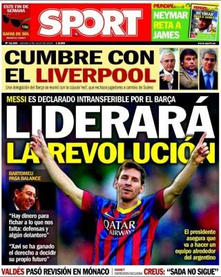 Portada Sport: Messi liderará la revolución