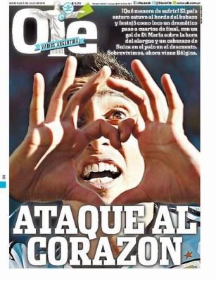 Portada Ole: Argentina 1-Suiza 0 Mundial Brasil 2014