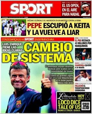 Portada SPORT: Luis Enrique cambia el esquema del Barça