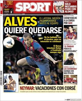 Portada Sport: Alves quiere quedarse