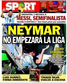 Portada Sport: Neymar no empezará la liga