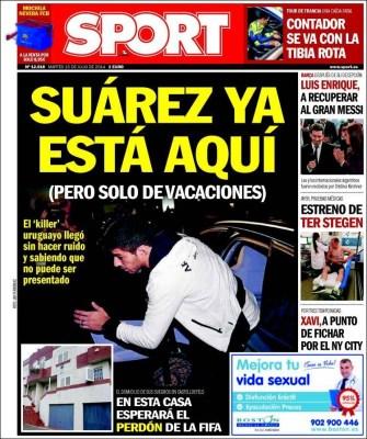 Portada Sport: Llegó Luis Suárez, que le pasa a Messi