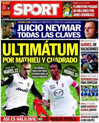 Portada Sport: James Rodríguez ficha por el Real Madrid