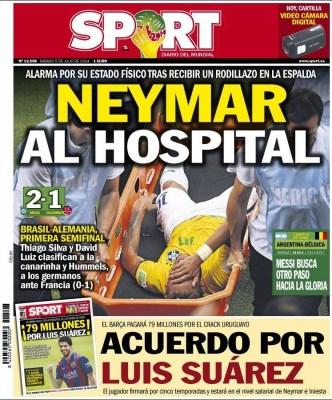 Portada Sport, lesión Neymar contra Colombia, Mundial Brasil 2014