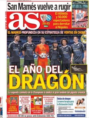 Portada As: Di María ficha por el Manchester United  Portada AS: el Madrid presenta la camiseta negra del dragón