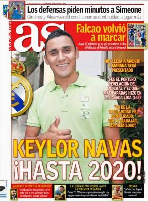 Portada AS: Keylor Navas ficha por el Real Madrid