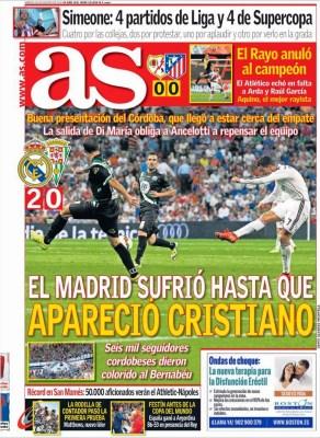 Portada AS: El Real Madrid gana 2-0 en su debut ante el Córdoba