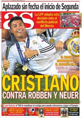 Portada AS: Cristiano, Robben y Neuer candidatos a mejor Jugador Uefa