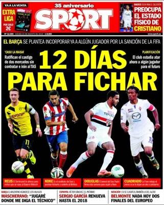 Portada Sport: El Barcelona no podrá fichar hasta 2016