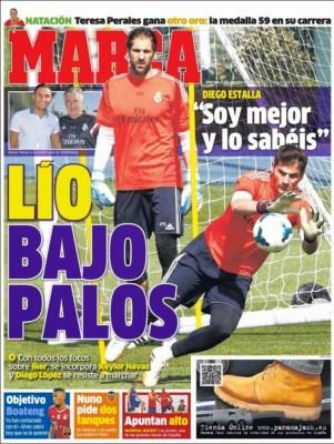 Portada Marca: lío en la portería del Madrid, Casillas-López-Navas pelean por un puesto