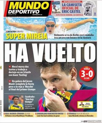 Portada Mundo Deportivo: doblete de Messi al Elche