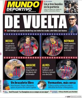 Portada Mundo Deportivo :Messi y Neymar se incorporan a los entrenamientos