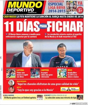 Portada Mundo Deportivo: El Barcelona no podrá fichar hasta 2016