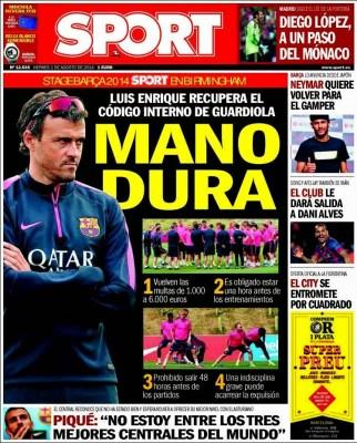 Portada Sport: Mano dura Luis Enrique
