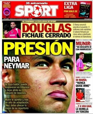 Portada Sport: El Barça ficha a Douglas