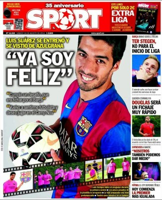 Portada Sport: Primer entrenamiento de Luis Suárez