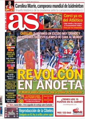 Portada AS: la Real Sociedad le remonta el partido al Madrid
