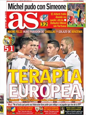 Portada AS: El Real Madrid golea 5-1 al Basilea