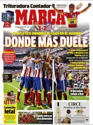 Portada Marca: el Madrid en crisis tras la derrota en el derbi