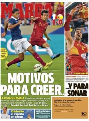Portada Marca: la roja debuta perdiendo ante Francia