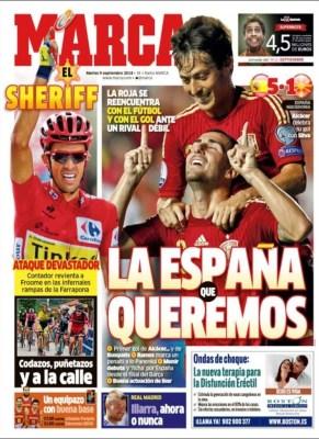 Portada Marca: España golea a Macedonia eurocopa