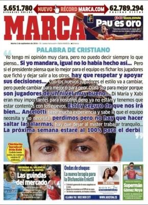 Portada Marca: Cristiano Ronaldo Critica a Florentino