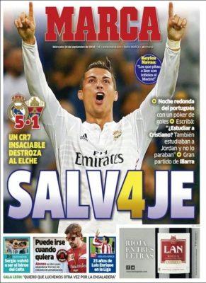 Portada Marca: Poker de Cristiano Ronaldo