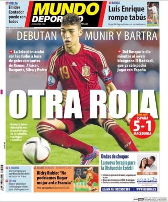 Portada Mundo Deportivo: España golea a Macedonia debuta munir
