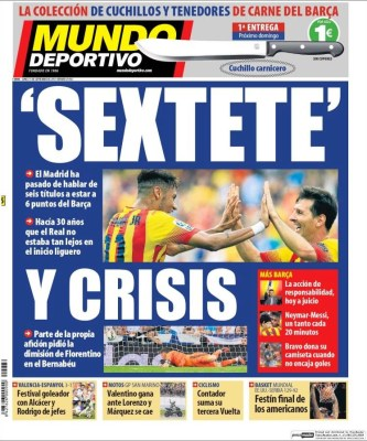 Portada Mundo Deportivo: Sextete y crisis
