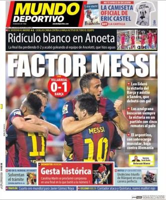 Portada Mundo Deportivo: factor Messi
