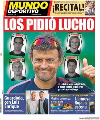 Portada Mundo Deportivo: Luis Enrique y Pep Guardiola