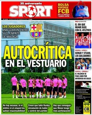 Portada Sport: El Barça hace autocrítica