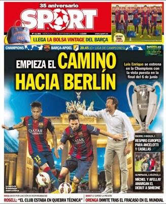 Portada SPORT: El Barça debuta ante el APOEL Nicosia